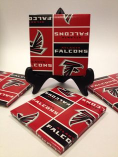 Set of Four Atlanta Falcons Tile Coasters. by CaseySwainsCreations, $12.00