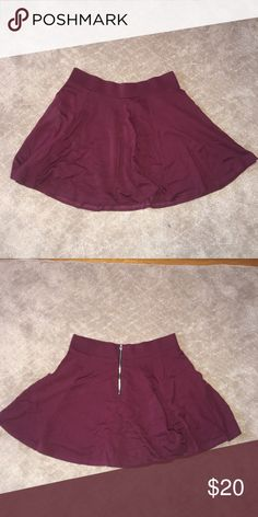 Burgundy Skater Skirt H&M skirt, beautiful color, zipper back, in great condition Divided Skirts Mini
