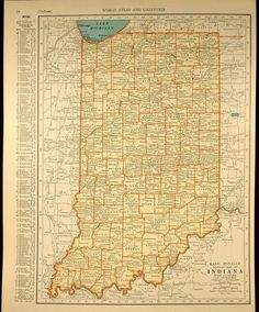 1939 Vintage Map of Indiana Indiana Map, Indiana State, Unique Art Projects, Cemetery Records, Orange And Turquoise, State Map, Vintage Maps, Cartography, Natural History