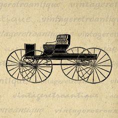Digital Antique Carriage Graphic Printable Illustration