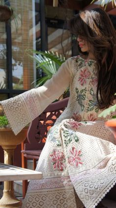 simple white lace and floral salwar