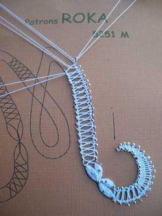 Details of a bobbin lace pattern.