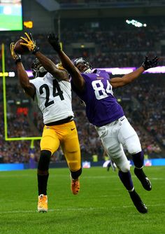 Cornerback Ike Taylor #24 of the Pittsburgh Steelers and wide receiver Cordarrelle Patterson #84 of the Minnesota Vikings jump for the ball during the NFL International Series game between Pittsburgh Steelers and Minnesota Vikings at Wembley Stadium on September 29, 2013 in London, England.