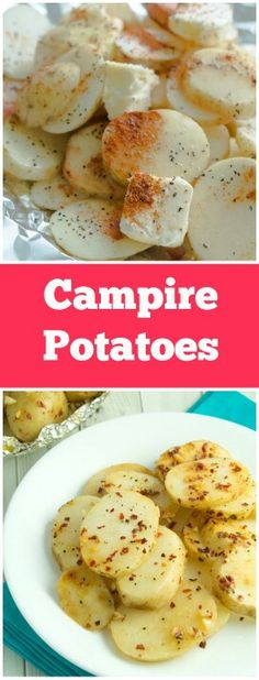 ~CAMPFIRE POTATOES~ COOK TIME: 35 mins TOTAL TIME: 35 mins **INGREDIENTS**  1 and ½ pounds potatoes, sliced~ 2  garlic cloves~ 4 T butter~ 2 Tworcestershire sauce~ ⅛ t cayenne pepper~ 1 tred pepper flakes. Place the sliced potatoes on top of a large piece of foil. Wrap the potatoes tightly.Add the garlic cloves, butter, worcestershire sauce, cayenne pepper, and crushedred pepper flakeson top of the potatoes. Fold and seal tightly.Place the packet on top ofthe grillfor 30-35 min.