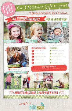 Family Newsletter (I love this idea. Can't wait to do it this year!)   Birdesign Blog | Photoshop templates for photographers by Birdesign
