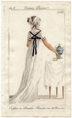 coiffure en dentelle - manches en boucles - le costume parisien - an 9 (1800-1801)