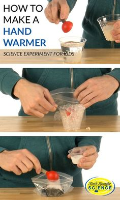 experimental version of the hand warmer is offered as a test idea and not as a definitive solution. You're encouraged to share your science fair results online. Click above to get the experiment details! Cool Science Fair Projects, Easy Science Experiments, Science Chemistry, Science Lessons, Physical Science, Forensic Science, Organic Chemistry, Class Projects, Diy Projects