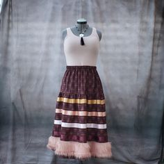 Native Fashion, Ribbon Skirts, Pink Faux Fur, Native Style, Ribbon Work, Maroon Color, Fur Trim, High Waisted Skirt, Cotton Fabric
