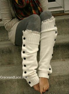 Diy leg warmers out of old sweater                                                                                                                                                                                 More