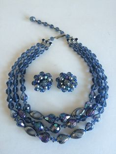 Shades of Blue and Metallic Silver Bead Demi by ChrisTineDecor