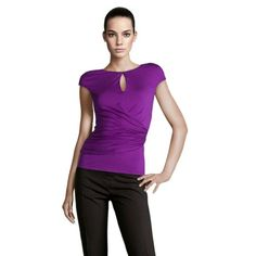 Max Mara Keyhole Short Sleeve Top in Purple featured in vente-privee.com