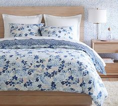 Rebecca Atwood Blossom Reversible Organic Percale Duvet Cover & Shams | Pottery Barn