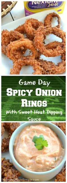 Looking for a winning game day snack that's going to pack a punch and bring the heat? These Smokin' Spicy Onion Rings with a homemade sweet heat dipping sauce are a total game changer, and the perfect way to spice up your game day! #Tailgreatness #ad /walmart/