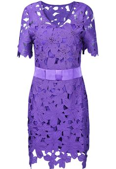 Purple Short Sleeve Hollow Flower Slim Dress...  I'd like this in a neutral color!!!  This purple is a little too bright for me