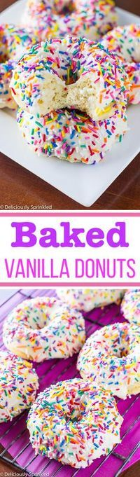 These baked vanilla doughnuts are the easiest, most delicious doughnuts you can make at home!