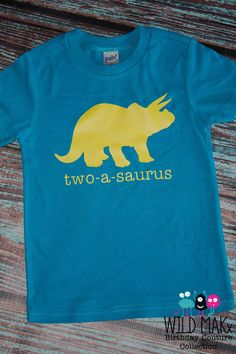 Birthday-A-Saurus - Dinosaur Birthday T-shirt - Blue and Yellow
