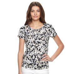 Women's Croft & Barrow® Henley Tee, Size: Medium, Black