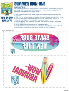 Surf's up! Head back to the beach with Teen Beach Movie 2 with these totally awesome zero point rewards, including iron-ons, fill-in story game and bookmarks: http://www.disneymovierewards.go.com/rewards/teen-beach-2-6696?cmp=DMR|PIN|Rewards|ZPR|TeenBeach2