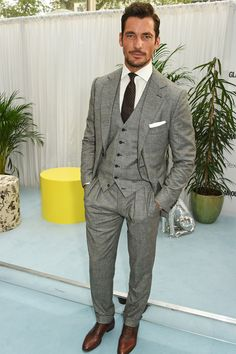 David Gandy was looking dapper in a three piece suit. We wouldn't expect anything less from the top model