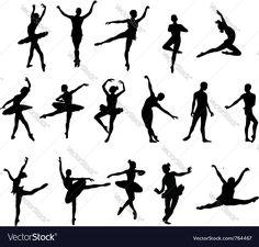 ballet dancer silohuettes set. Download a Free Preview or High Quality Adobe Illustrator Ai, EPS, PDF and High Resolution JPEG versions.