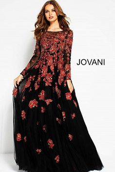 Black Red Floral Embroidered Long Sleeves Evening Gown 53088  LongSleeve   PromDress  Prom2018 Long f8d2b8dbc