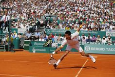 Novak Djokovic Stretched out backhand volley.