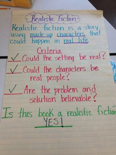 realistic fiction - questions students ask themselves