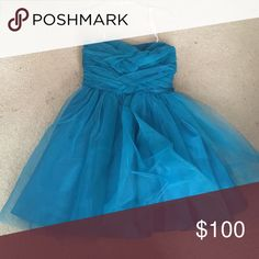 Turquoise Tulle Formal Dress Purchased at The Windsor Store, it was sold as a size 3/4 but fits more like a size 2. Dresses Prom