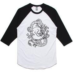 theIndie Dragon and the Sun Tattoo (Black) 3/4-Sleeve Raglan Baseball T-Shirt