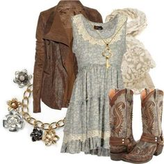 Brown boots, pretty blue dress, brown leather jacket = are we going dancing tonight?