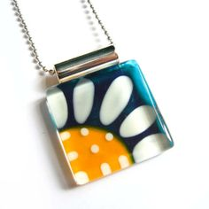 Daisy yellow and teal pendant - Hand painted glass -