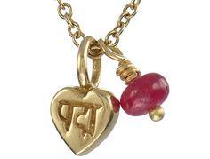 ME & RO 18K Gold Tiny Lotus Heart with Ruby Bead Drop