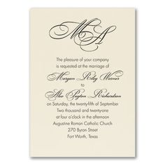 Say 'oui' to the beautiful monogram design and your choice of trim option on this ecru wedding invitation. Ivory Wedding Invitations, Price Of Stamps, French Expressions, Types Of Printing, Monogram Design, Foil Stamping, Invitation Suite, Roman Catholic, Home Wedding