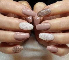 Nude and holo polish coffin nails