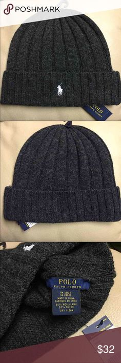 NWT - Men's Ralph Lauren POLO Beanie (Dark Grey) Authentic Ralph Lauren POLO Beanie - Dark grey with white Polo emblem - 80% Wool, 20% Nylon - *PRICE IS FIRM* Polo by Ralph Lauren Accessories Hats
