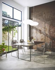 wall finish in contemporary dining room, George Nelson pendant lights, concrete floors