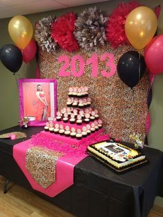 Hot pink, gold, black, and leopard print Graduation/End of School Party Ideas | Photo 2 of 4