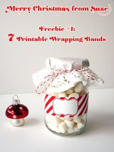 Merry Xmas Wrapping Bands - Free Printable PDF with 7 styles of jar wrapping bands.