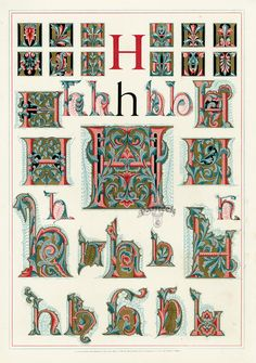 H comme Hunaudaye... ref pour tapisseries / tenures Owen Jones Alphabet 1864