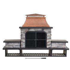 Outdoor Wood Burning Fireplace Large Patio Heater Steel & Faux Stone Yard Decor #SmartDealsMarket #Modern Outdoor Wood Burning Fireplace, Black Fireplace, Fireplace Tools, Outdoor Fireplaces, Fireplace Ideas, Outdoor Living, Outdoor Decor, Outdoor Pergola, Outdoor Play