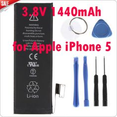 Newest Genuine Replacement Battery 3.8V 1440mAh Brand New Inner built-in Li-ion Battery for Apple iPhone 5 + Kit Tools #Affiliate