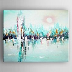 Oil Painting Modern Abstract  Painting Hand Painted Canvas with Stretched Framed – USD $ 79.99