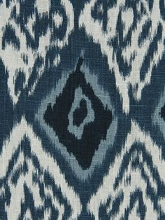 Blue Ikat Fabric Indigo Blue Upholstery Fabric by PopDecorFabrics, $49.00
