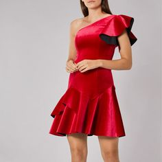 Coast Red Madalina Dress Velvet One Shoulder Peplum Bodycon Mini Party 10 38 New #Coast #ALine #PartyCocktail