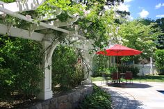 Use combo of Pergola and brightly colored umbrella table for shade and variety. Pergola by the Patio - traditional - patio - new york - Conte & Conte, LLC Diy Pergola, Pergola Swing, Metal Pergola, Pergola With Roof, Wooden Pergola, Covered Pergola, Outdoor Pergola, Pergola Shade, Pergola Ideas