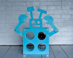 robot wine rack (robot, blue, kitchen, home decor, wine)