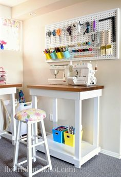 When it comes to unique storage ideas for your sewing essentials, nothing is better than pegboard! Check out this craft room inspiration for more ideas on how to decorate and organize your creative space so it suits your needs and is nice to look at.