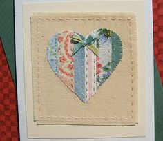 Hand-stitched card by Helen Drewett with beautiful vintage fabrics and silk bow Fabric Cards, Fabric Postcards, Fabric Gifts, Embroidery Cards, Machine Embroidery, Vintage Greeting Cards, Greeting Cards Handmade, Card Making Inspiration, Making Ideas