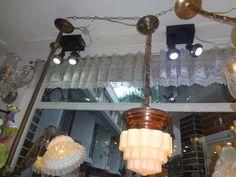 lustre pendente art deco anos 50 opalina e bronze