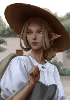 Nalia Art Print by Nipuni - X-Small Dnd Characters, Fantasy Characters, Female Characters, Character Portraits, Character Art, Elf Art, Illustration Art, Illustrations, Dragon Age Inquisition